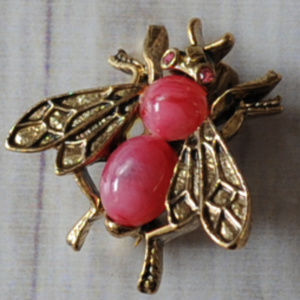 red pink jelly belly fly bug insect brooch pin
